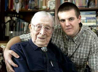John Wooden with great-grandson Tyler Trapani